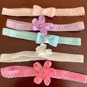 Baby girl bows, infant headband, set of 5